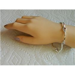 NEW BRACELET - 5 OVAL BEZEL SET AMETHYST IN STERLING SILVER SCALLOP DESIGN SETTING -SUGGESTED RETAIL