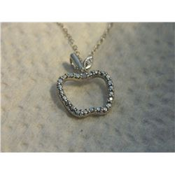NECKLACE - DIAMOND IN STAMPED 925 STERLING SILVER APPLE DESIGNED SETTING - INCLUDES STERLING SILVER