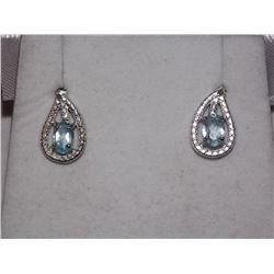 EARRINGS - NEW OVAL FACETED BLUE TOPAZ & ROUND FACETED YELLOW CHAMPAGNE DIAMONDS IN STERLING SILVER