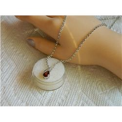 NECKLACE - 1.15CT PEAR FACETED GARNET & DIAMOND IN STERLING SILVER SETTING - BEZEL/PRESSURE SET - IN