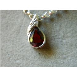 NECKLACE - 1.15CT BEZEL SET PEAR FACETED GARNET & ROUND FACETED DIAMOND IN STERLING SILVER SETTING -