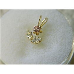 PENDANT - NEW - FLOWER DESIGNED 14K YELLOW GOLD WITH CZ - RETAIL ESTIMATE $450