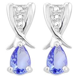 EARRINGS -  3/4 CARAT PEAR FACETED TANZANITE & 2 DIAMONDS IN 925 STERLING SILVER SETTING - RETAIL ES