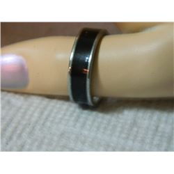 RING - STAINLESS STEEL WITH BLACK BAND