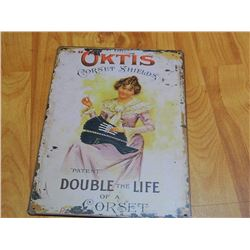 "METAL SIGN - 12 X 8"" - OKITIS CORSET SHIELDS"