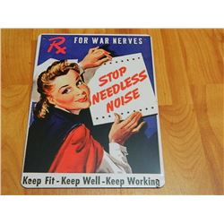 "METAL SIGN - 12 X 8"" - KEEP FIT - KEEP WELL - KEEP WORKING"