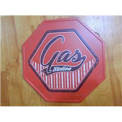 "METAL SIGN - OCTAGON - 12"" - GAS STATION"