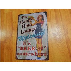 "METAL SIGN - 12 X 8"" - THE HAPPY HOUR LOUNGE..."