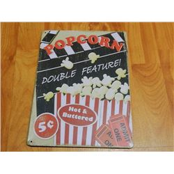 "METAL SIGN - 12 X 8"" - POPCORN - DOUBLE FEATURE as-is"