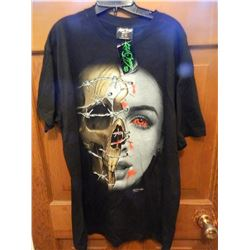T-SHIRT - HEAVY COTTON  ROCK CHANG - GLOW IN DARK - HALF SKULL & HALF SKIN WITH RED EYES AND BARBED