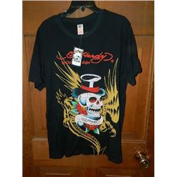 "T-SHIRT - ED HARDY - WITH COLORED JEMS ATTACHED - ""ED HARDY BY CHRISTIAN AUDIGER"" - SKULL WITH TOP H"
