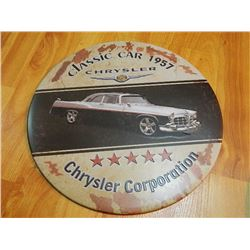 "METAL SIGN - ROUND - 12"" - CLASSIC CAR 1957 - CHRYSLER"