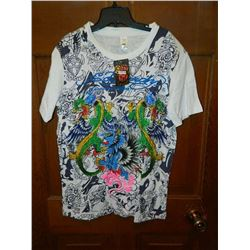 "T-SHIRT - ED HARDY - WITH COLORED JEMS ATTACHED - ""ED HARDY BY CHRISTIAN AUDIGER"" - PARATU"" ""SEMPER"""