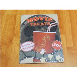 "METAL SIGN - 12 X 8"" - MOVIE TREATS"