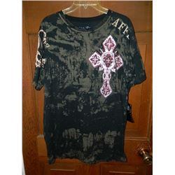 "T-SHIRT -  AFFLICTION - ""AFFLICTION"" DOWN LEFT SIDE SHOULDER TO ARM - WITH RED & SILVER CROSS - XL"