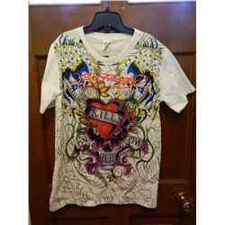 "T-SHIRT - ED HARDY - WITH COLORED JEMS ATTACHED - ""ED HARDY BY CHRISTIAN AUDIGER"" - RED HEART W/ PUR"