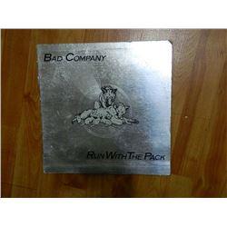 RECORD COVER ONLY - BAD Co. - RUN WITH THE PACK - condition poor