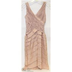 SIZE 4 NUDE RUFFLED COCKTAIL DRESS 3/4 LENGTH