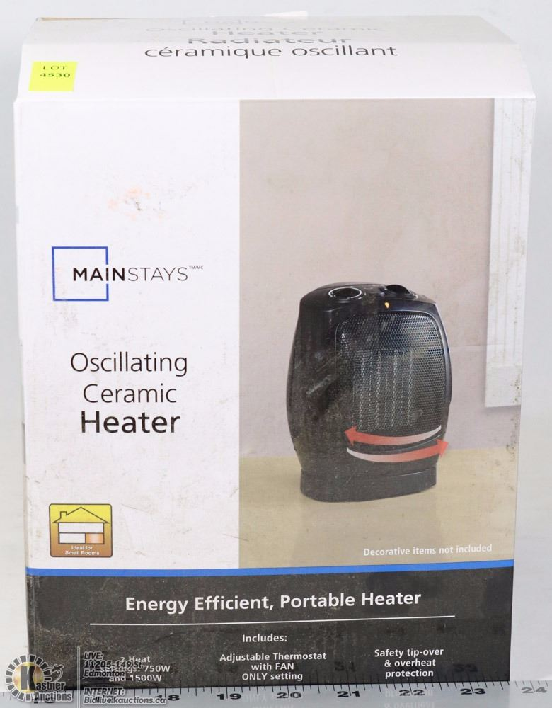 Image 1 MAINSTAYS OSCULATING CERAMIC HEATER