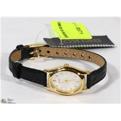NEW LADIES GOLD TONE BLACK STRAP LADIES SEIKO