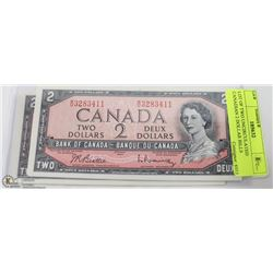 LOT OF TWO UNCIRCULATED CANADIAN 2 DOLLAR BILLS