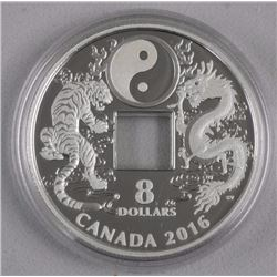 2016 $8 Fine Silver Coin - Tiger and Dragon Yin and Yang.
