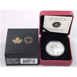 2013 $5 Tradition of Hunting: Bison - Pure Silver Coin.