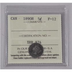 1890 - H Canada 5 Cents. (F-12) (ICCS) (MR)