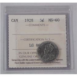 1928 Canada Five Cents. (MS-60) (ICCS) (GR)