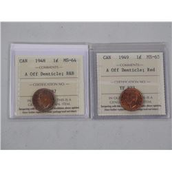 2x Canada One Cent Coins. (A Off Denticle) 1948 an