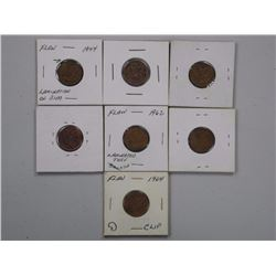 7x Error One Cent Coins. (SEL)