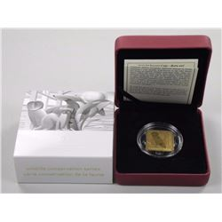 2010 - $3.00 Square Coin - Barn Owl 24kt Gold over