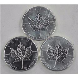 3x .9999 Fine Silver 5 Dollars Maple Leaf Coins Pr