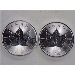 2x .9999 Fine Silver 5 Dollars Maple Leaf Coins Pr