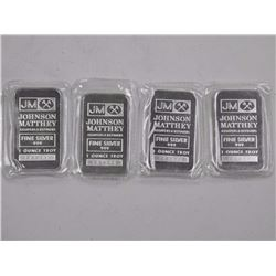 4x JM 1oz .9999 Fine Silver Collector Bullion Bars