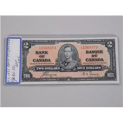 1937 Bank of Canada Two Dollar Note L/R BC-22c (GE
