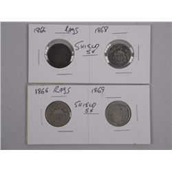 2x Pair USA Silver Shield 5 Cents. (1866-1868) Ray