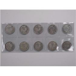 10x Canada Silver 50c. Mixed Dates.
