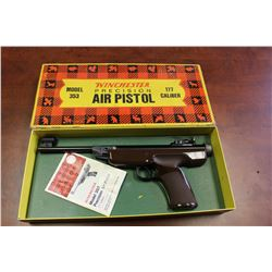 VERY RARE WINCHESTER MODEL 353 PRECISION AIR PISTOL, 177 CALIBER WITH THE ORIGINAL BOX AND PAPER