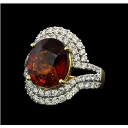 7.50 ctw Malaya Garnet and Diamond Ring - 14KT Yellow Gold