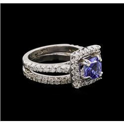 14KT White Gold 1.61 ctw Tanzanite and Diamond Wedding Ring Set