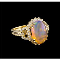 4.01 ctw Opal and Diamond Ring - 14KT Yellow Gold