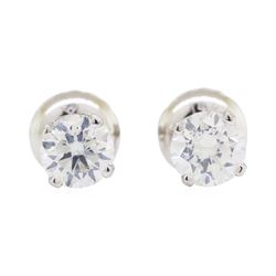 0.65 ctw Diamond Stud Earrings - 14KT White Gold