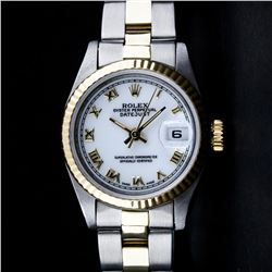 Rolex Two-Tone Mother Of Pearl Roman Oyster Band DateJust Ladies Watch