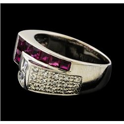 0.79 ctw Ruby and Diamond Ring - Platinum