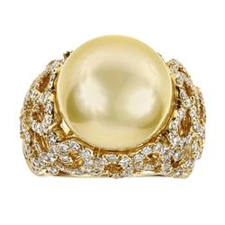 2.03 ctw Diamond and Pearl Ring - 18KT Yellow Gold