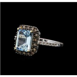 2.23 ctw Aquamarine and Diamond Ring - 14KT White Gold