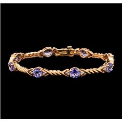 5.50 ctw Tanzanite and Diamond Bracelet - 14KT Rose Gold