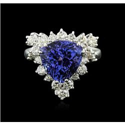 14KT White Gold 4.82 ctw Tanzanite and Diamond Ring