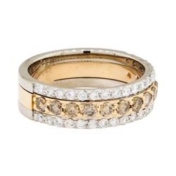 1.25 ctw Brown and White Diamond Band - 18KT Rose And White Gold